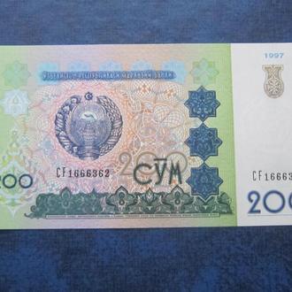 Банкнота 200 сум Узбекистан 1997 UNC пресс