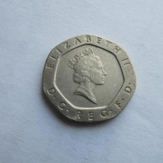 20 пенсов Великобритания 1988 год