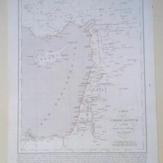 Карта 1849г. Палестина Израиль Иерусалим , еврейская земля