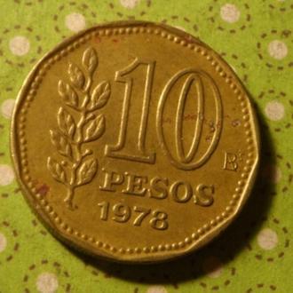 Аргентина 1978 год монета 10 песо !