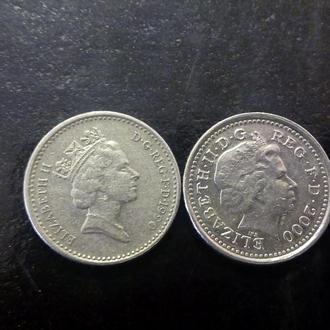 5 пенсов (Два разных портрета) Великобритания.