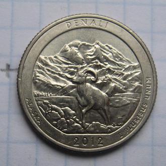 """США, 25 центов 2012 года (ALASKA DENALI ) """"Д""""."""