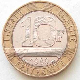 Франция 10 франков, 1989