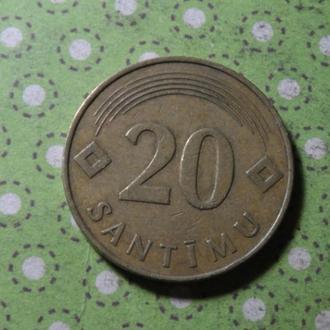 Латвия 1992 год монета 20 сантимов