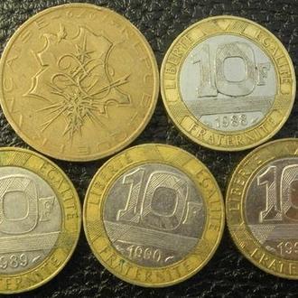 10 франків Франція (порічниця), 5шт, всі різні