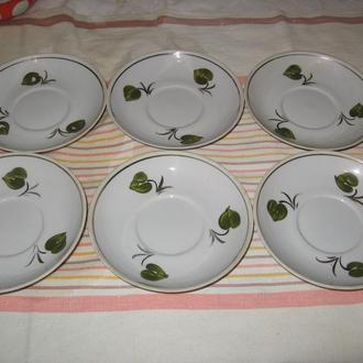 Блюдца чайные 6 шт Бориславский фарфор (СССР)
