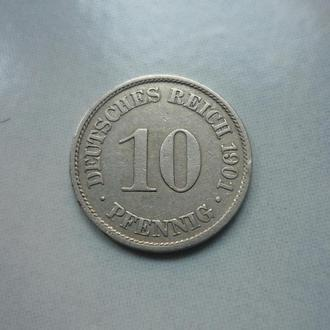 Германия 10 пфеннигов 1901 A