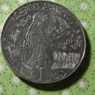 Тунис 1997 год монета 1 динар герб !