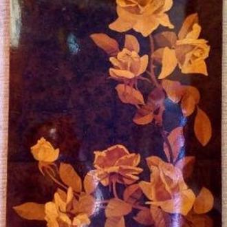 Картина розы инкрустация соломкой
