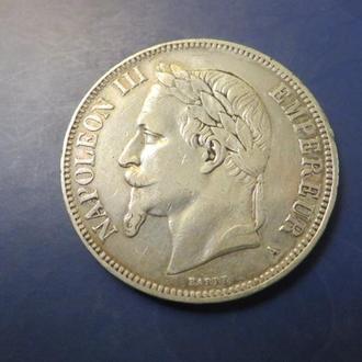 Франция 5 франков 1870 серебро неплохaя массивная, оригинал (Бесплатная доставка из Польши)