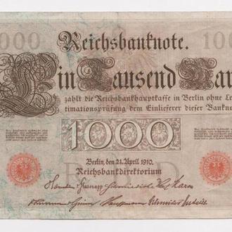 1000 МАРОК = 1910 г. - красная печать = ГЕРМАНИЯ