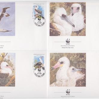 Рождества о-в 1990 WWF ОЛУША АББОТТА МОРСКАЯ ПТИЦА ОРНИТОЛОГИЯ ФАУНА ПРИРОДА Четыре КПД Mi.303-306