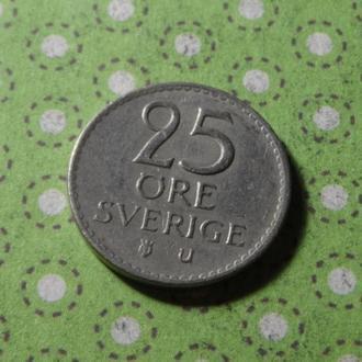 Швеция 1963 год монета 25 эре !
