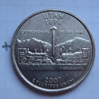 """США, 25 центов 2007 г. (ШТАТ ЮТА) """"Р""""."""