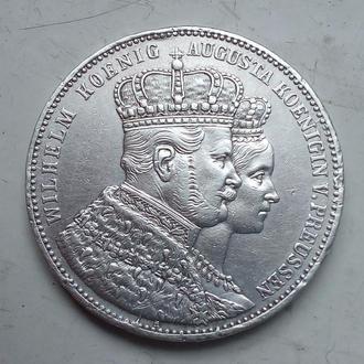 Германская империя ,Пруссия. 1 талер 1861 года, посвящен Коронации Вильгельма и Августы. (1)