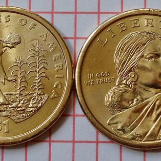 "1 доллар США ""Коренные Американцы"" -Посадка культур 2009 г"