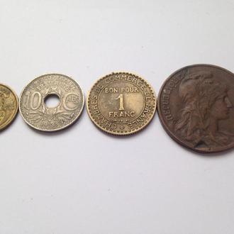 Франция 1 франк. 50.10.5 сантимов 4шт.