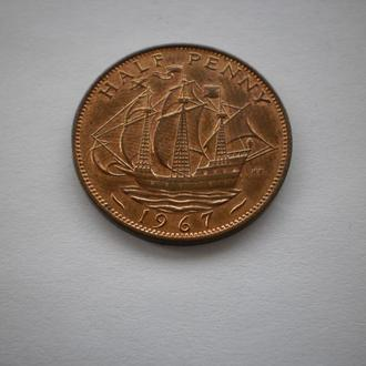 Англія Великобританія Англия монета пів-пенні 1967 рік пол-пенни 1967 год корабль парусник Елизавета