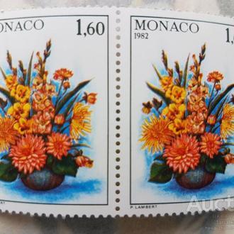 Монако цветы флора одиночка 1982 пары Михель=4 евро**