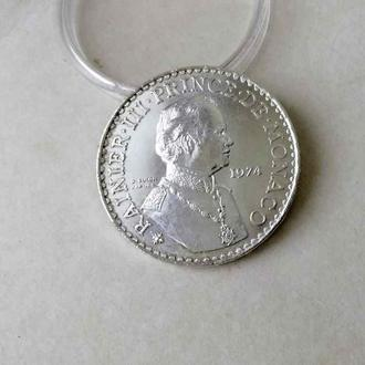 Монако 50 франков 1974 серебро СОХРАН UNC тираж всего 25000!!