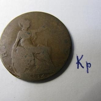 Великобритания пол пенни 1/2 пенні half penny 1914