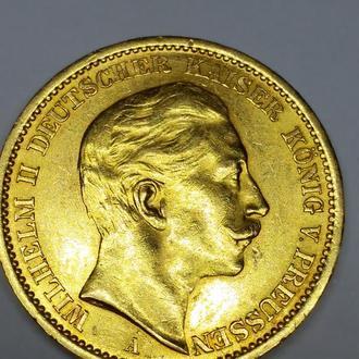 20 марок 1909, Германская империя, золото, 7,97 unc Оригинал! Редчайший сохран!