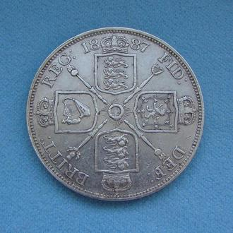 2 Флорина (4 Шиллинга) Великобритания 1887 г. Серебро 925. Монета DOUBLE FLORIN Королева Виктория.