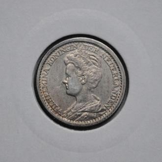 Нидерланды 25 центов 1912 г., UNC, 'Королева Вильгельмина (1890-1948)', РЕДКИЙ ГОД
