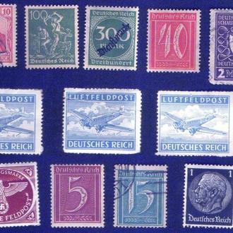 Германия. Империя, Веймарская республика, Третий рейх. Подборка марок