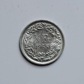 Швейцария 1/2 франка 1965 г., UNC