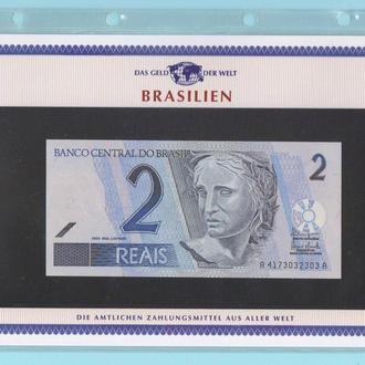 БРАЗИЛИЯ банкнота 2 Reais UNC из серии «Das Geld Der Welt» БРАЗИЛІЯ + сертификат + альбомный лист