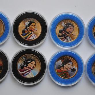США 1 доллар 2002-2007 г., UNC, 'Индейские племена' (цветные тираж 1000 шт.)