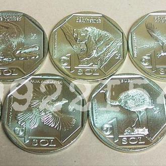Набор монет 1 соль Фауна Перу, серия Красная Книга. 7 штук! UNC