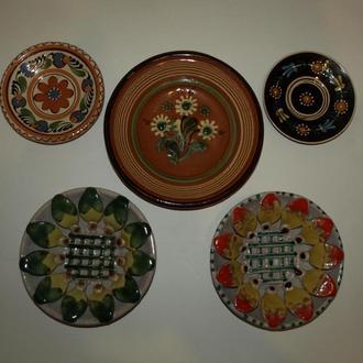 Комплект настенных тарелок, 5шт. 70-80е гг. СССР, Закарпатье.
