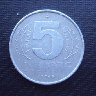 Германия 5 пфен. 1968г. ГДР.