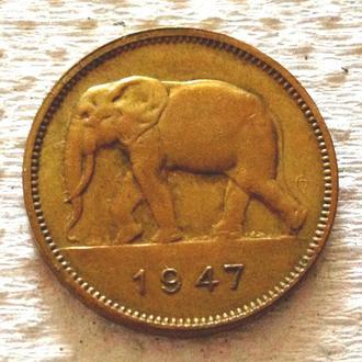 2 франка, 1947 г, Бельгийское Конго