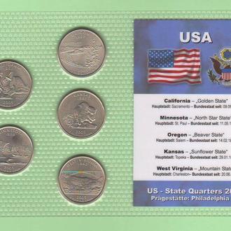 Набор квотер ов США 2005 P - пластик блистер запайка