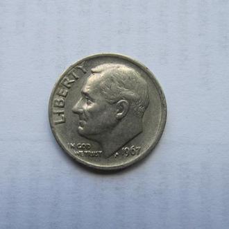 10 центов ( One Dime) США Америка 1967 год. Рузвельт