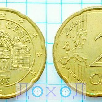 Монета Австрия 20 евроцентов 2008 Латунь немагнит