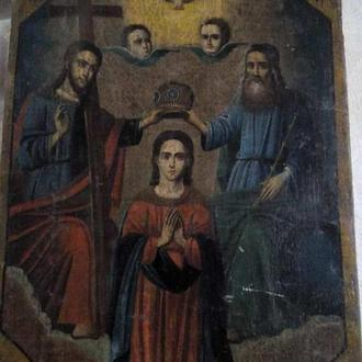 Старинная икона Коронование Божьей матери