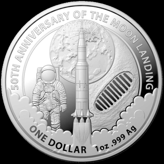 2019 г - 1 доллар Австралии,50 лет высадке на Луне,унция серебра,в капсуле