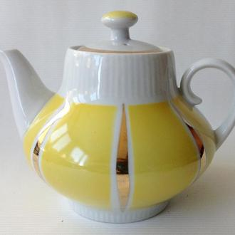 Чайник  заварочный  Лимонный. Фарфор, позолота.
