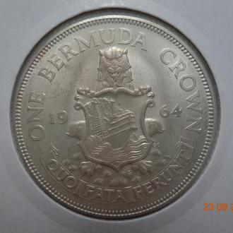Бермудские о-ва 1 крона 1964 Elizabeth II серебро СУПЕР состояние очень редкая