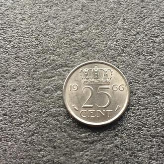 Нидерланды 25 центов 1966 год (271)