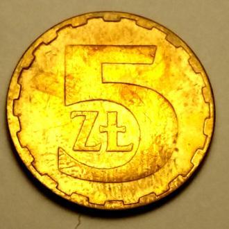 5 злотих 1986 года Польша - СОСТОЯНИЕ !!! - а2