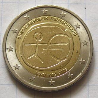 Германия_ 2 евро 2009  J  «10 лет Экономическому и валютному союзу»