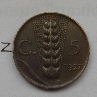 ИТАЛИЯ, 5 чентезимо 1927 года.