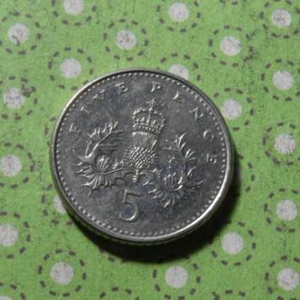 Англия Великобритания 1990 год монета 5 пенни !