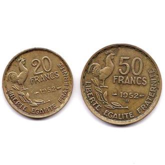 Франция 1952 г - 20 и 50 франков  - 2 скана - фауна -