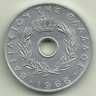 Греция Константин II 20 лепт 1966 UNC